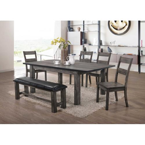 Elements - Nathan Side Chairs in Distressed Gray Oak Look Finish with Faux Leather Seat