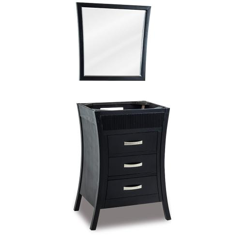 """26"""" vanity base with Black finish and reed detail along the top."""