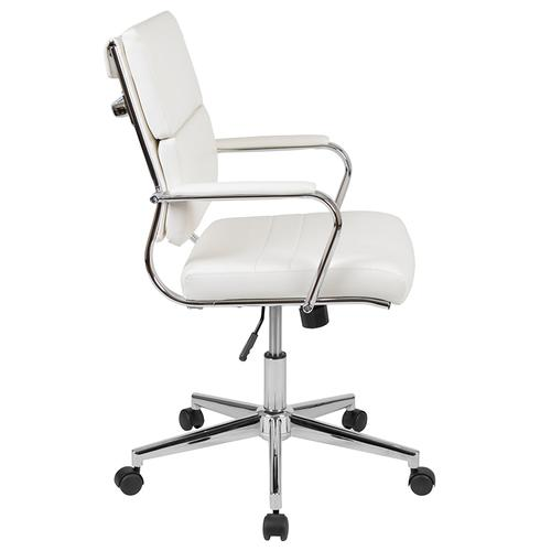 Gallery - Mid-Back White LeatherSoft Contemporary Panel Executive Swivel Office Chair