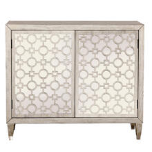 See Details - Geometric Overlay Mirrored Accent Chest in Woodgrain Beige