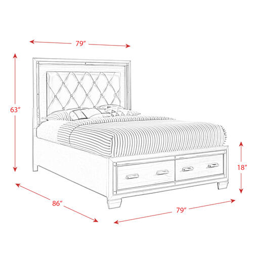 Titanium King Tufted Upholstered Storage Bed