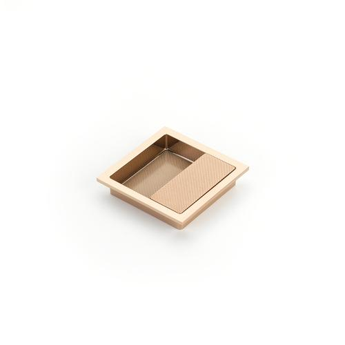 """MODO, Recessed Pull, 3-7/8"""" x 3-7/8"""" Overall, Polished Rose Gold Finish"""