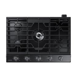 """30"""" Smart Gas Cooktop with Illuminated Knobs in Black Stainless Steel"""
