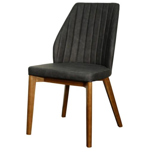 New Pacific Direct - Tory KD PU Dining Side Chair Walnut Legs, Antique Gray