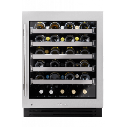 True Residential - 24 Inch Single Zone Stainless Glass Door Right Hinge ADA Height Undercounter Wine Cabinet