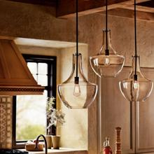 "Everly 19.75"" 1 Light Pendant Clear Glass Olde Bronze®"