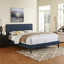 Virginia King Fabric Platform Bed with Squared Tapered Legs in Azure