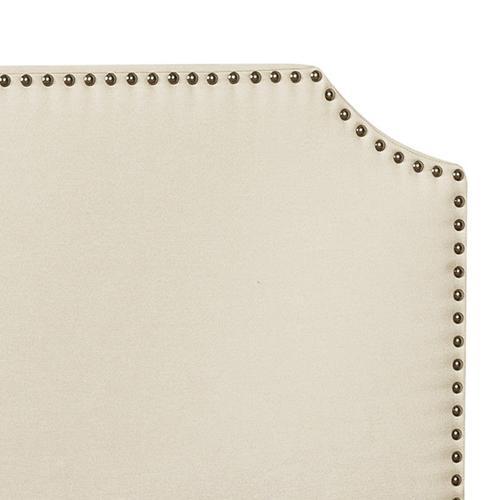 Clipped Corner Queen Upholstered Bed in Linen Beige