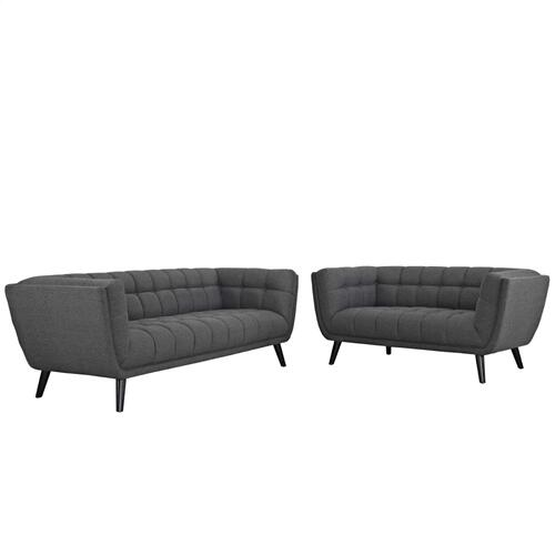 Modway - Bestow 2 Piece Upholstered Fabric Sofa and Loveseat Set in Gray