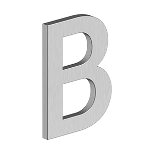 """Deltana - 4"""" LETTER B, B SERIES WITH RISERS, STAINLESS STEEL - Brushed Stainless"""