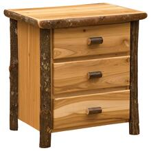 XL Three Drawer Nightstand - Natural Hickory