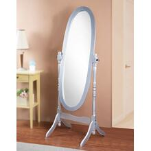 Traditional Queen Anna Style Wood Floor Cheval Mirror, Silver Finish