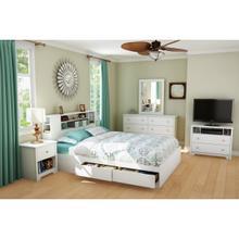 Vito - Mates Bed and Bookcase Headboard Set, Pure White, Queen