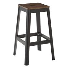 "Hammond 30"" Metal Barstool With Darkwood Seat and Frosted Black Frame Finish"