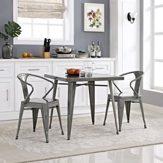 Alacrity Square Metal Dining Table in Gunmetal