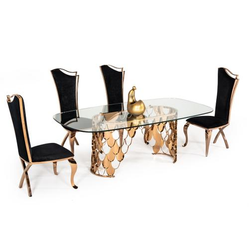 Modrest Bonnie Transitional Black Velvet & Rosegold Dining Chair (Set of 2)