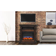 Cambridge Sienna 34 In. Electric Fireplace w/ Multi-Color LED Insert and Walnut Mantel, CAM3437-1WALLED