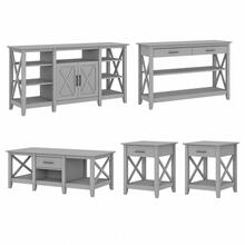 Key West Tall TV Stand with Coffee Table, Console Table and Set of 2 End Tables - Cape Cod Gray