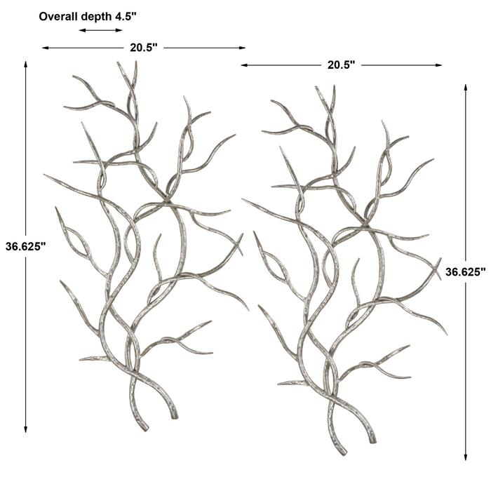 Uttermost - Silver Branches Metal Wall Decor, S/2