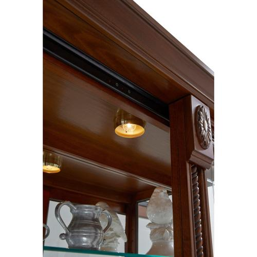 Lighted Sliding Door 5 Shelf Curio Cabinet in Cherry Brown