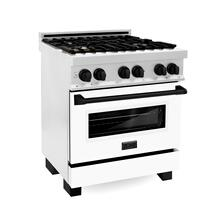 """See Details - ZLINE 30"""" 4.0 cu. ft. Dual Fuel Range with Gas Stove and Electric Oven in DuraSnow® Stainless Steel with White Matte Door and Matte Black Accents (RASZ-WM-30) [Color: Matte Black]"""