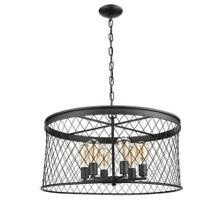 Vivio- Kata 6-Light Cage Pendant- Matte Black Finish