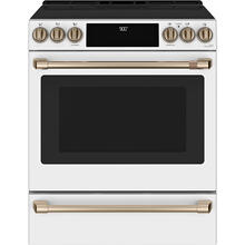 View Product - Café ™ 30'' Slide-In Front Control Induction and Convection Range with Warming Drawer Matte White