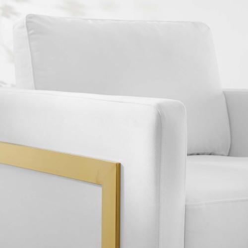 Posse Performance Velvet Accent Chair in Gold White