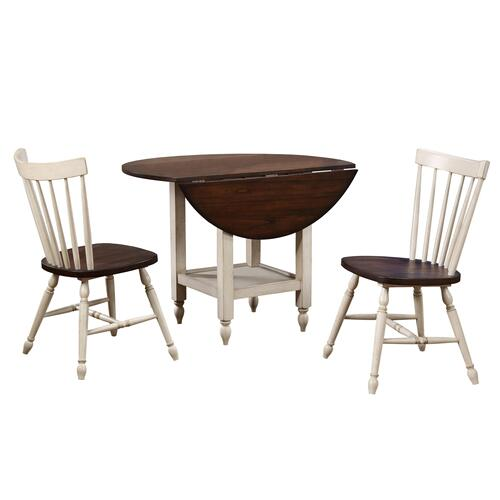 Round Drop Leaf Dining Table Set w/Shelf - Antique White & Chestnut Brown (3 Piece)