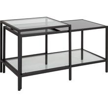 Westerly Multi-Tiered Glass Coffee Table with Black Metal Frame