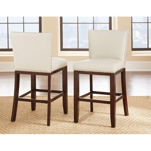 Tiffany Bonded Counter Chairw/Nailhead, White