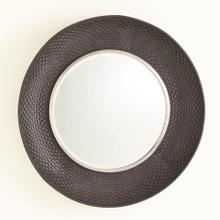 Milan Round Mirror-Charcoal Leather