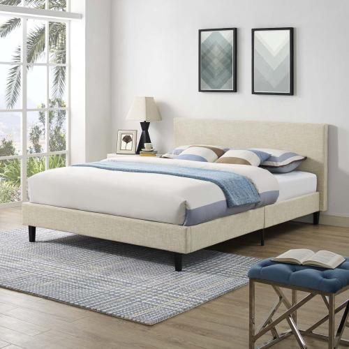 Anya Queen Bed in Beige