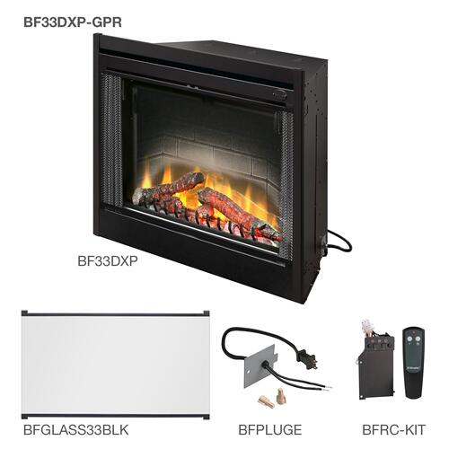 Dimplex - Dimplex Deluxe Built-In Electric Firebox With the Glass Pane Kit, Plug Kit, and Remote Control Accessories