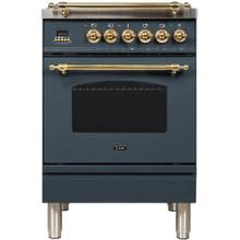 Nostalgie 24 Inch Dual Fuel Natural Gas Freestanding Range in Blue Grey with Brass Trim