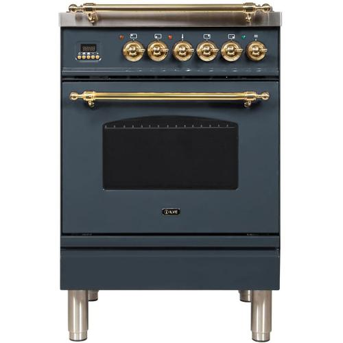 Ilve - Nostalgie 24 Inch Dual Fuel Natural Gas Freestanding Range in Blue Grey with Brass Trim
