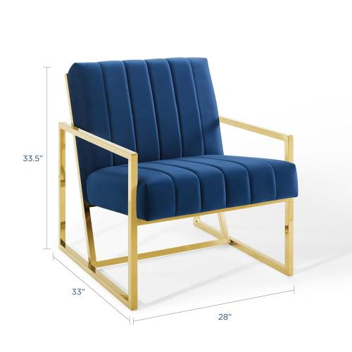 Inspire Channel Tufted Performance Velvet Armchair in Navy