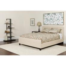 Tribeca King Size Tufted Upholstered Platform Bed in Beige Fabric