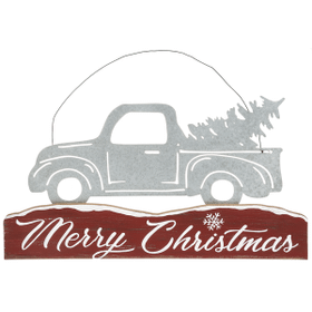Merry Christmas Truck & Wood Plaque