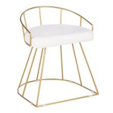 Canary Vanity Stool - Gold Metal, White Velvet