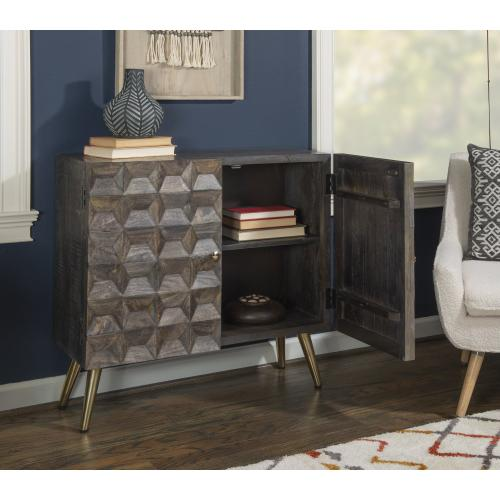 2-door and Flared Legs Cabinet, Smokey Grey and Gold