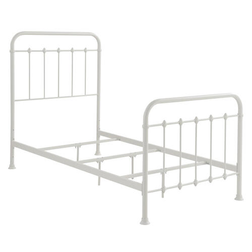 Accentrics Home - Curved Corner Metal Twin Bed in White
