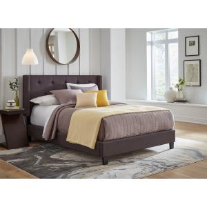 Accentrics Home - All-in-One Upholstered Bed Charcoal Fabric Queen