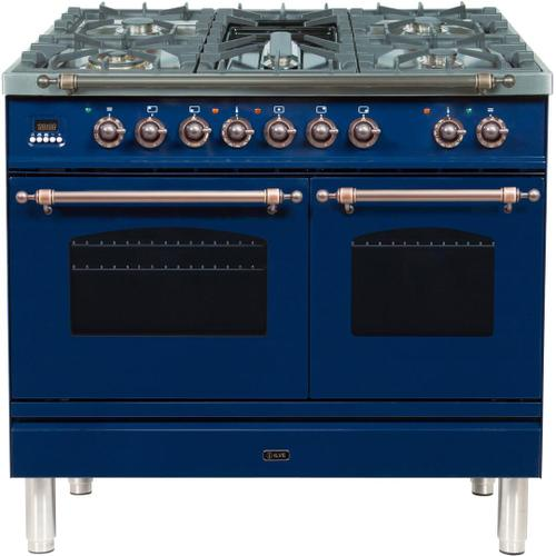 Nostalgie 40 Inch Dual Fuel Liquid Propane Freestanding Range in Blue with Bronze Trim