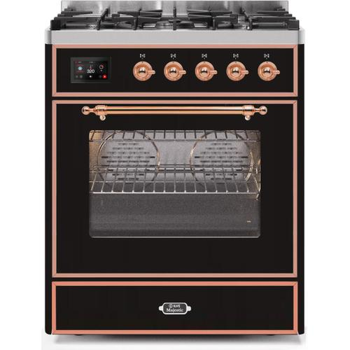 Product Image - Majestic II 30 Inch Dual Fuel Natural Gas Freestanding Range in Glossy Black with Copper Trim