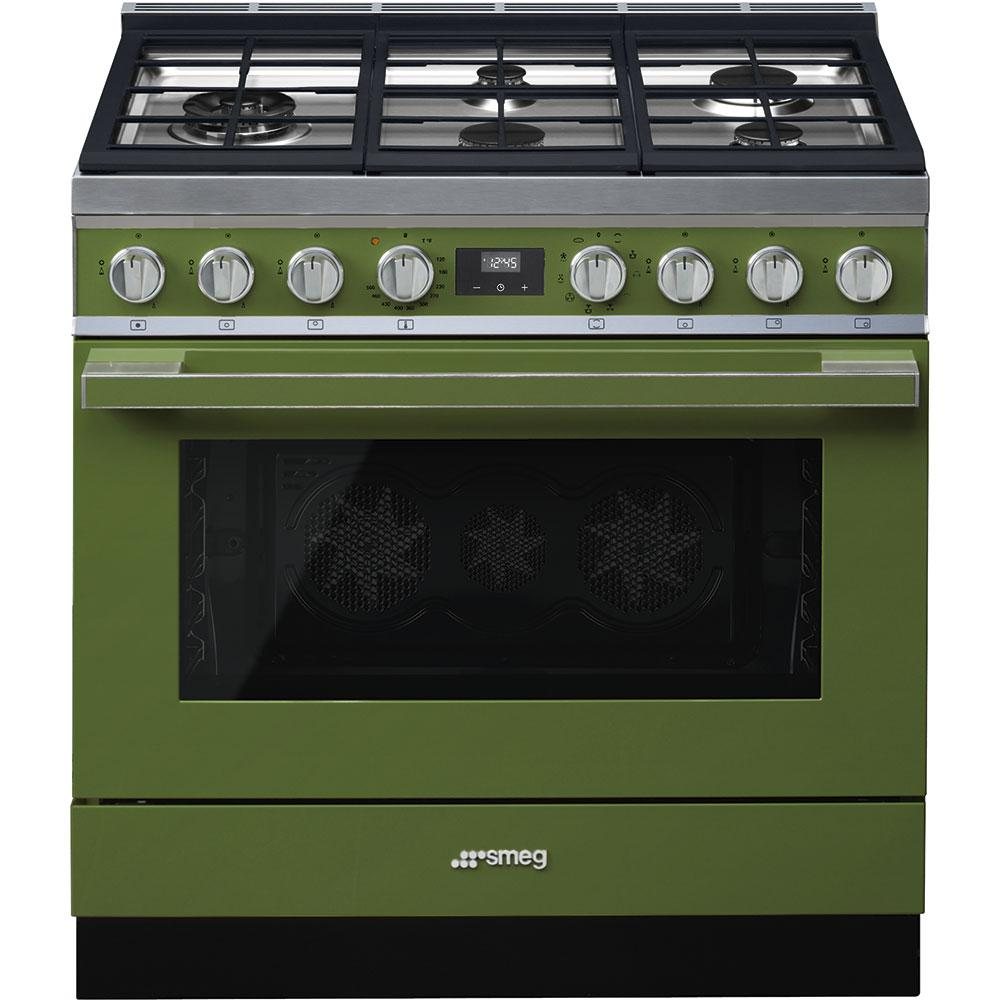 "SmegPortofino Pro-Style Dual Fuel Range, Olive Green, 36"" X 25"""