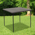 2.83-Foot Square Bi-Fold Dark Gray Plastic Folding Table with Carrying Handle Product Image