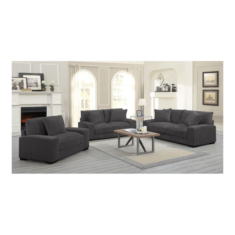 Big Chill Charcoal Sofa, Loveseat & 1.5 Chair, U2249