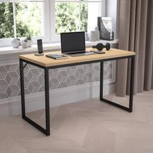 "Tiverton Industrial Modern Desk - Commercial Grade Office Computer Desk and Home Office Desk - 47"" Long (Maple\/Black)"