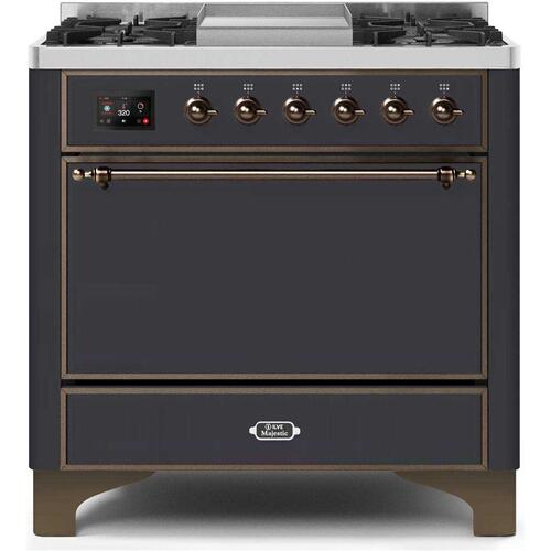 Majestic II 36 Inch Dual Fuel Natural Gas Freestanding Range in Matte Graphite with Bronze Trim